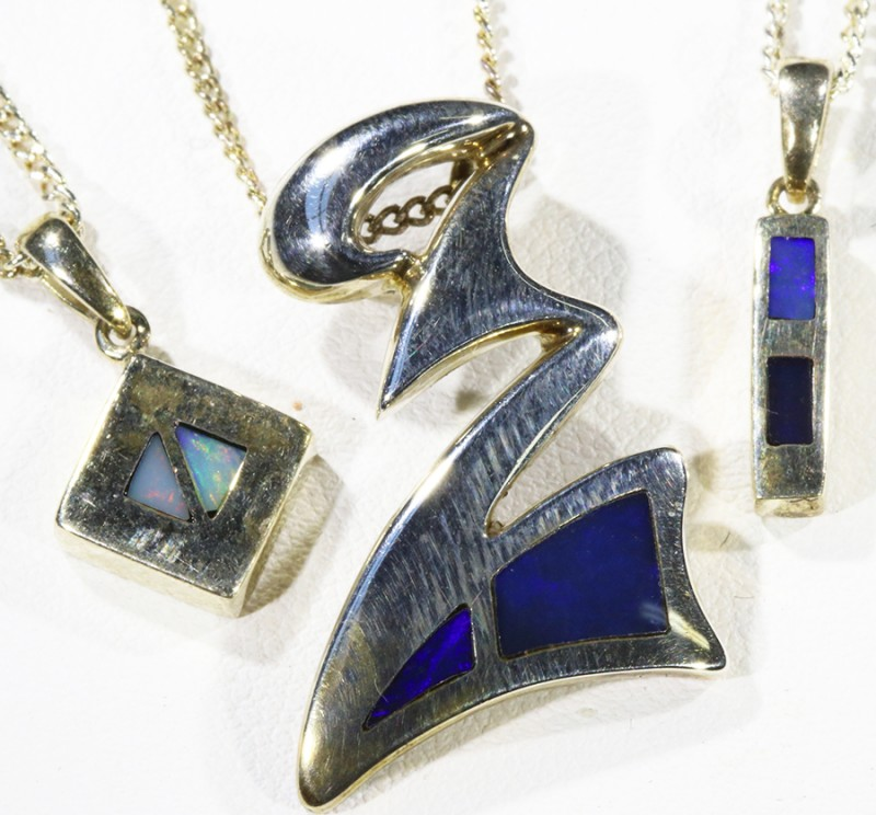 Three lovely Opal  Inlay set in Silver Pendants CF1731