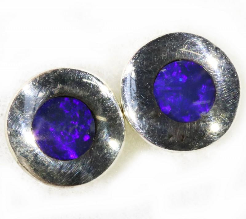 Lovely Earrings Inlay Opal set in Silver Earrings CF1742