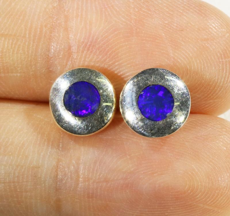 Lovely Earrings Inlay Opal set in Silver Earrings CF1743