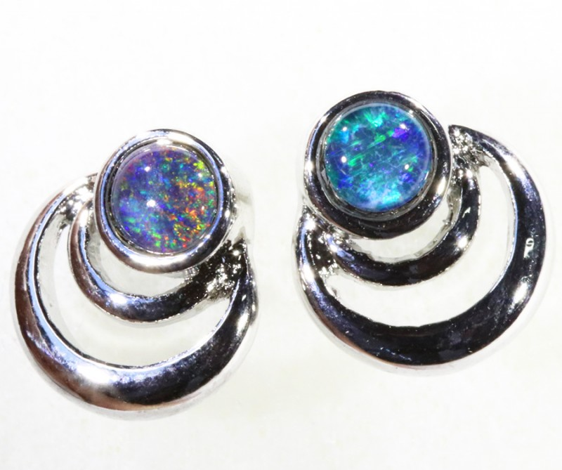 Gem Opal Triplet set in  Earring CF1756