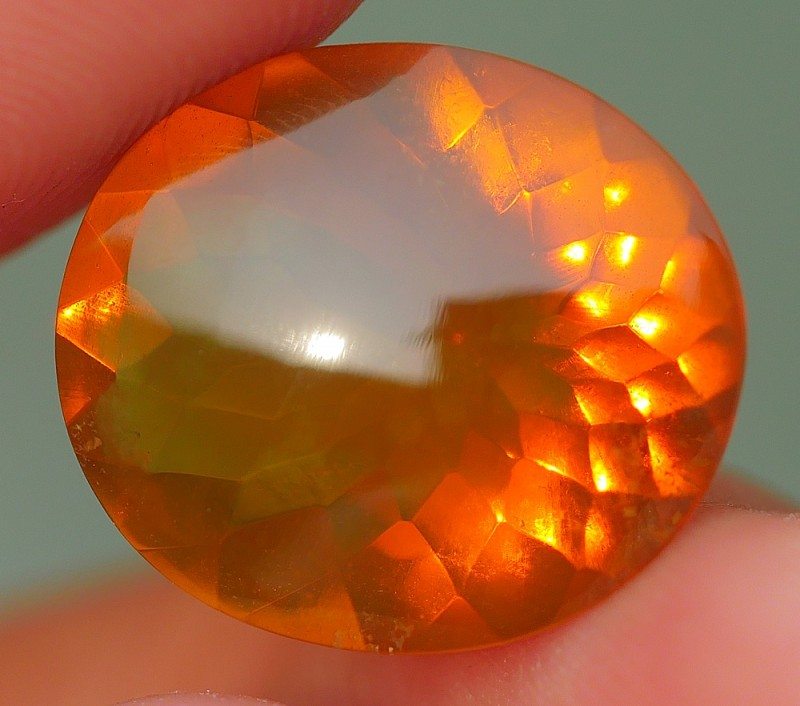 5.80 CRT BEAUTIFUL CLEAR DELUXE ORANGE BROWN BASE COLOR INDONESIAN FIRE OPA