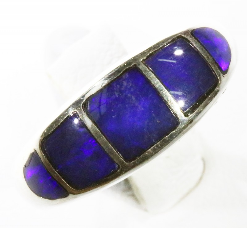 Lovely  Inlay Opal set in Silver Ring Adjustable CF1772