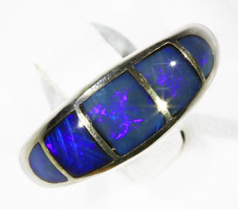 Lovely  Inlay Opal set in Silver Ring Adjustable CF1774