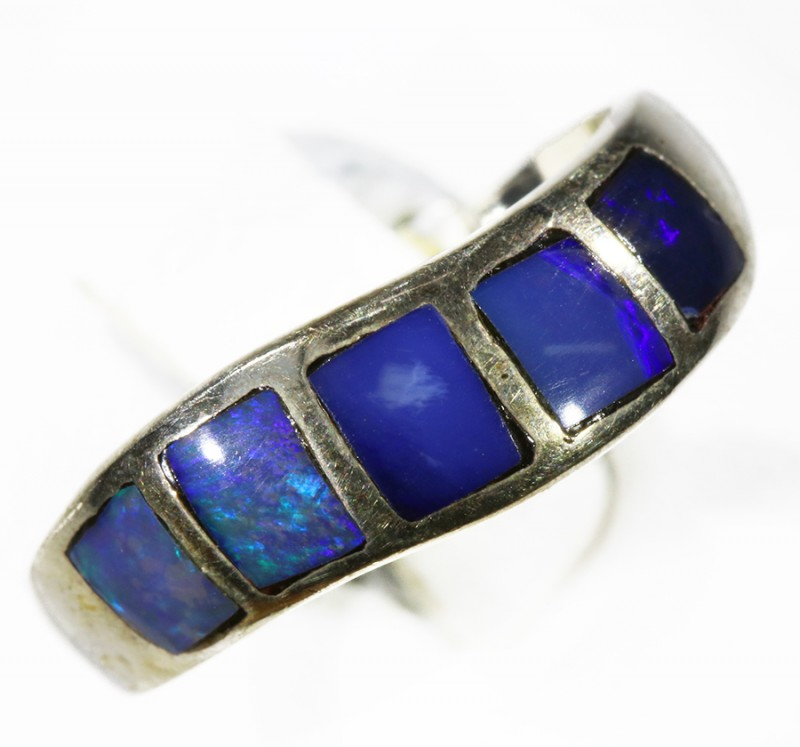 Lovely  Inlay Opal set in Silver Ring Adjustable CF1775