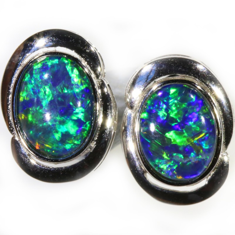 4.00 CTS GEM TRIPLET OPAL EARRINGS [SOJ6157]SH