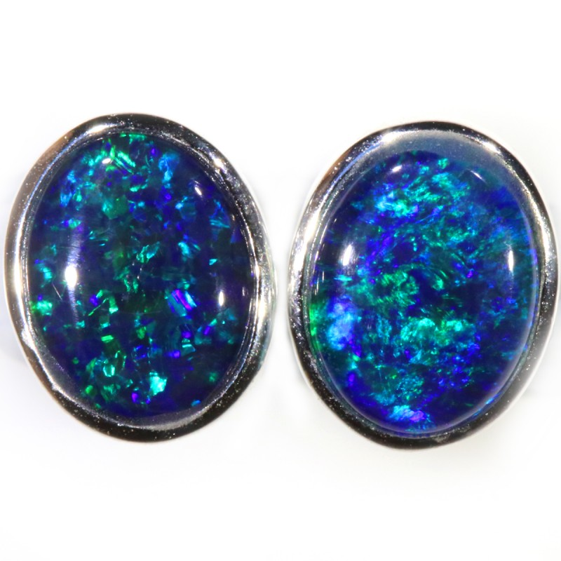 4.00 CTS GEM TRIPLET OPAL EARRINGS [SOJ6140]SH