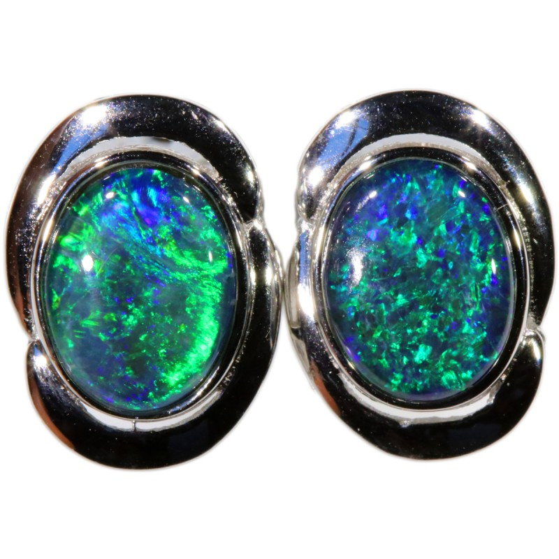 4.00 CTS GEM TRIPLET OPAL EARRINGS [SOJ6147]SH