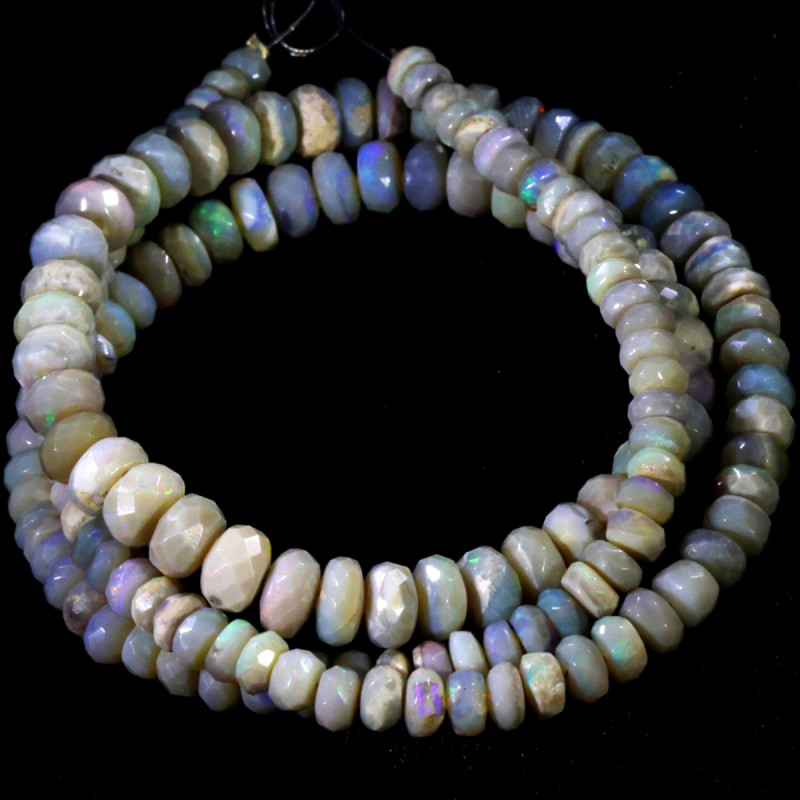 78.75 CTS FACETED OPAL BEAD STRAND -LIGHTNING RIDGE  N5-N6 [SO9837] SAFE S