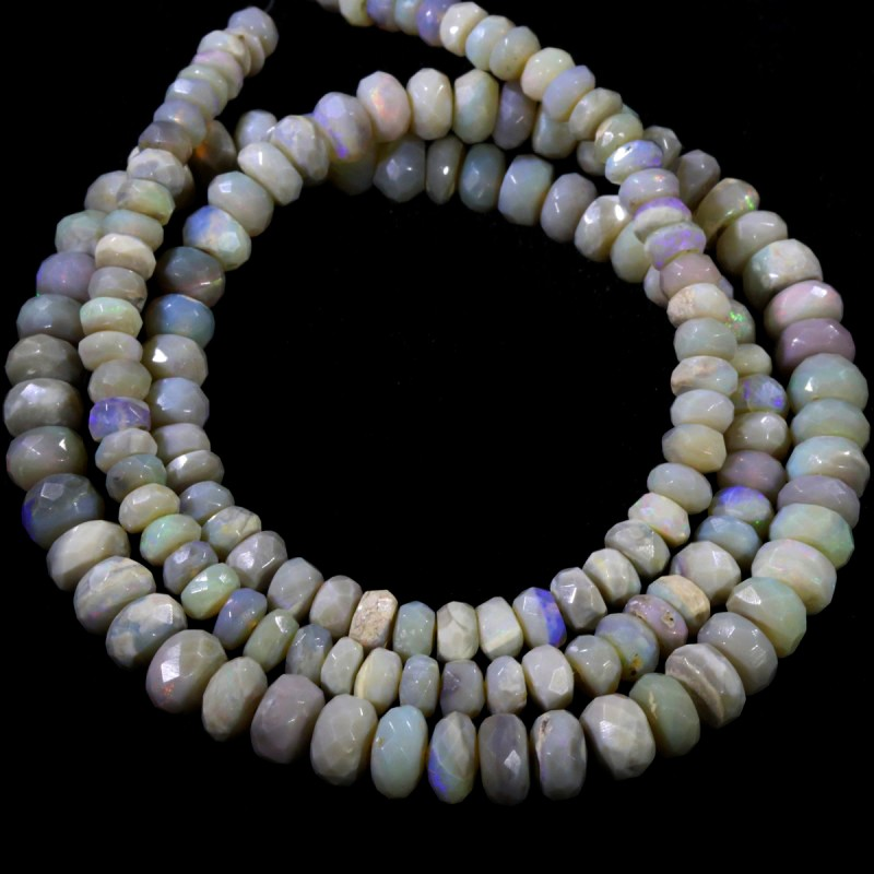 79.90 CTS FACETED OPAL BEAD STRAND -LIGHTNING RIDGE  N5-N6 [SO9838] SAFE S