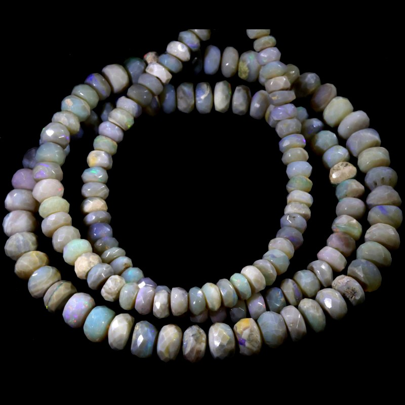 81.05 CTS FACETED OPAL BEAD STRAND -LIGHTNING RIDGE  N5-N6 [SO9840] SAFE S