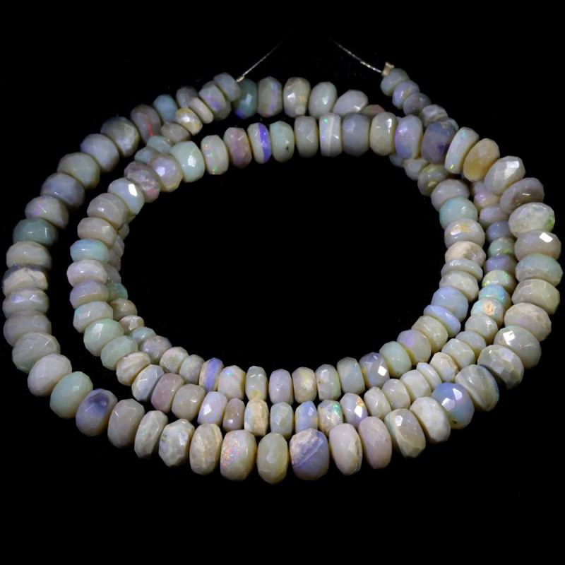 79.05 CTS FACETED OPAL BEAD STRAND -LIGHTNING RIDGE  N5-N6 [SO9842] SAFE S