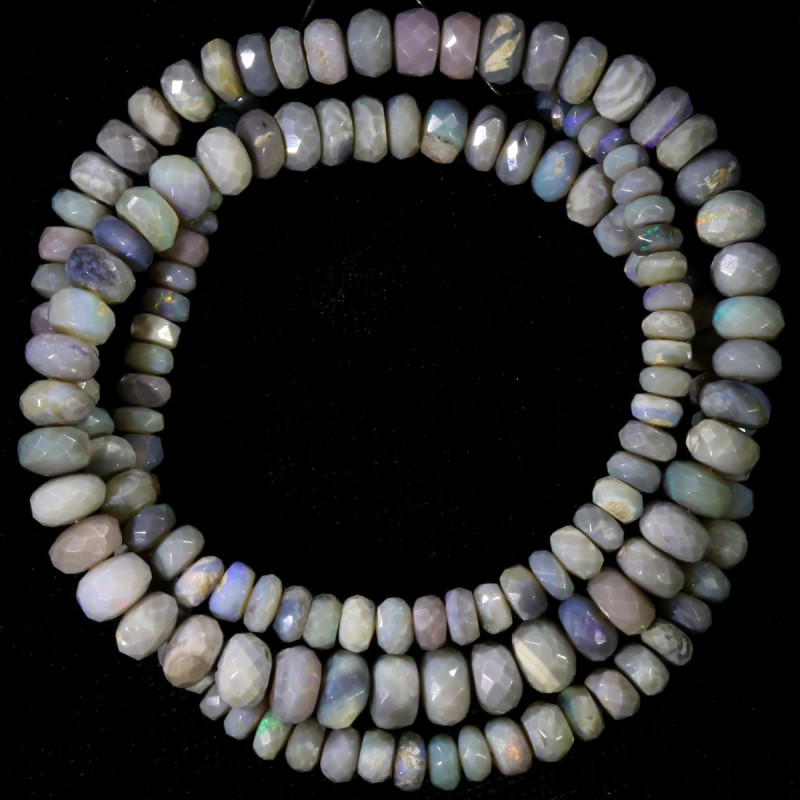 80.80 CTS FACETED OPAL BEAD STRAND -LIGHTNING RIDGE  N5-N6 [SO9845] SAFE SH