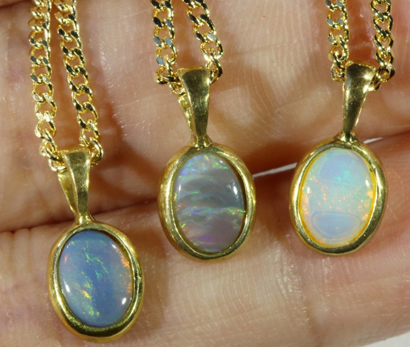 Three Solid Opal into Sterling Gold pendant CF1789
