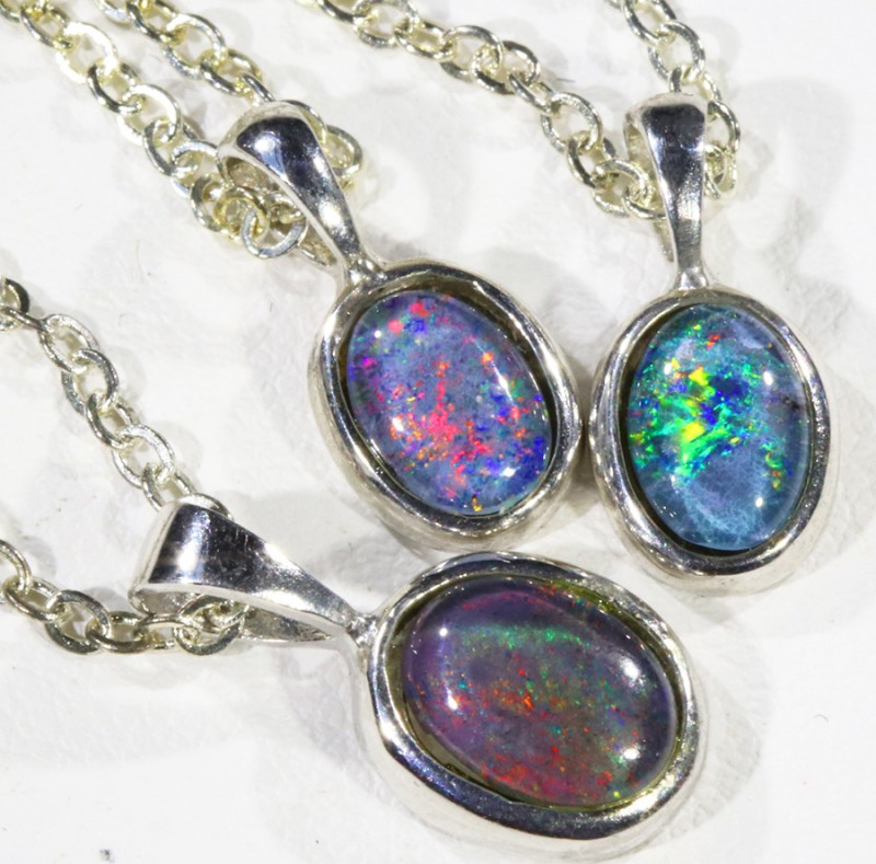 Three Bright Triplet Opal   into Sterling Silver pendant CF1794
