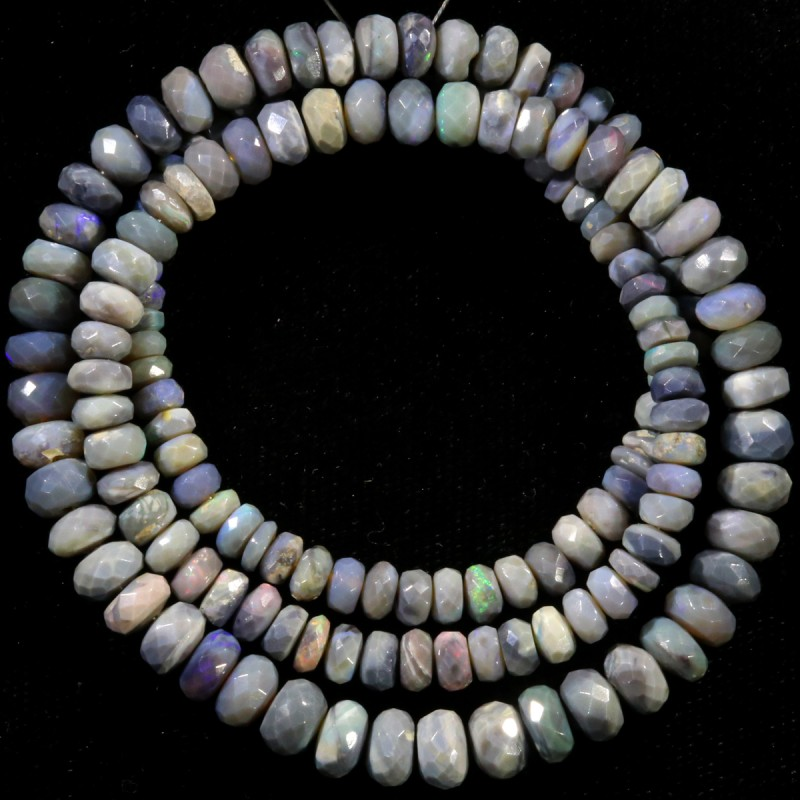 78.90 CTS FACETED OPAL BEAD STRAND -LIGHTNING RIDGE N4 [SO9860]SAFE SH