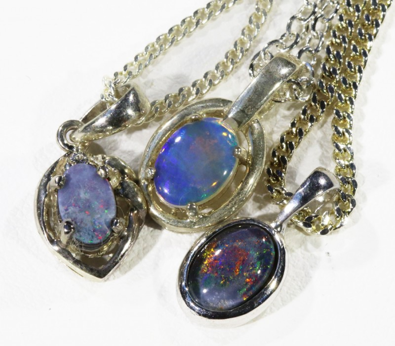 Three Mix Opal into Sterling Silver pendant CF1800