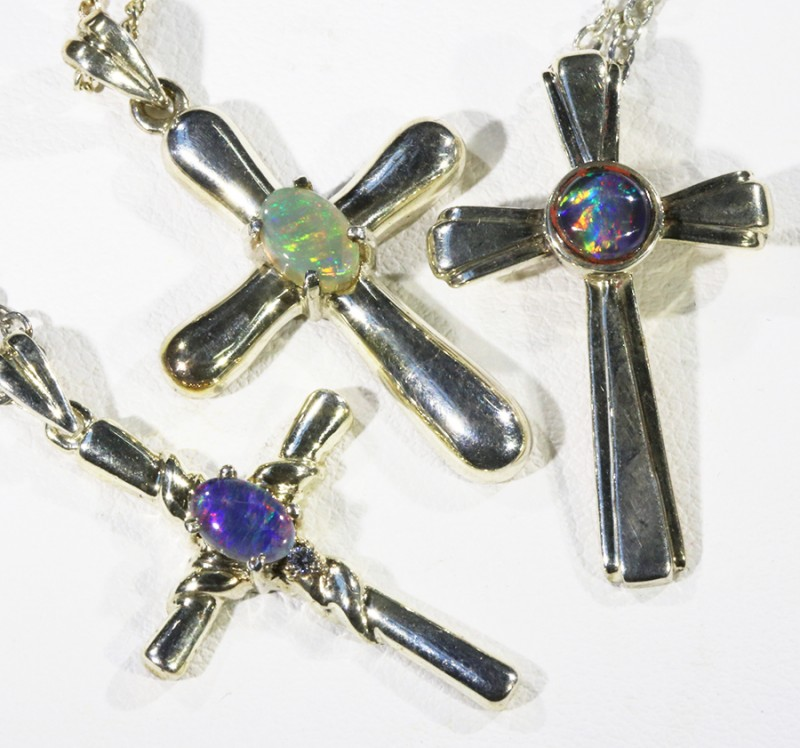 Three Mix Opal into Sterling Silver pendant CF1811