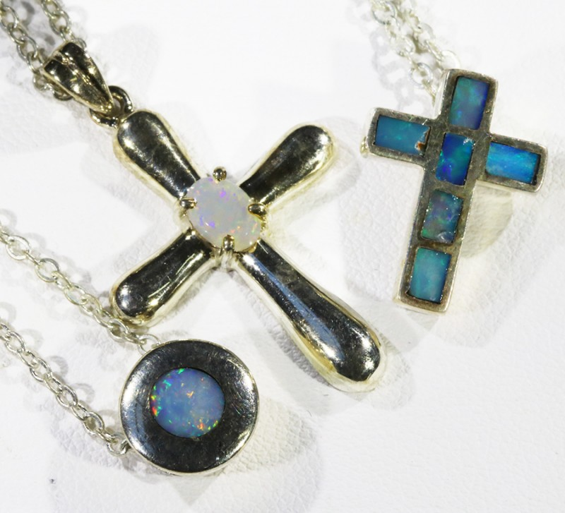 Three Mix Opal into Sterling Silver pendant CF1813