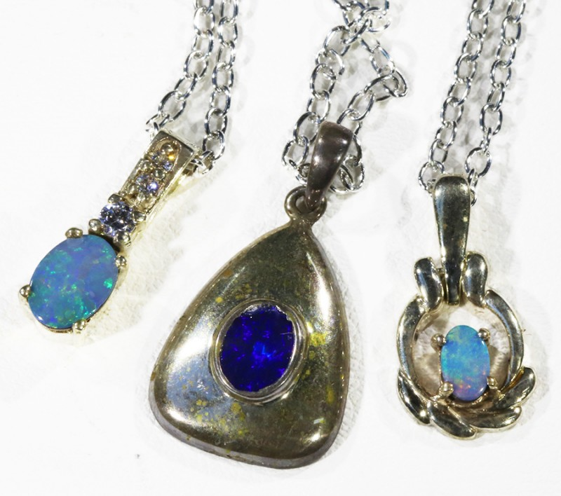 Three Double Opal   into Sterling Silver pendant CF1814