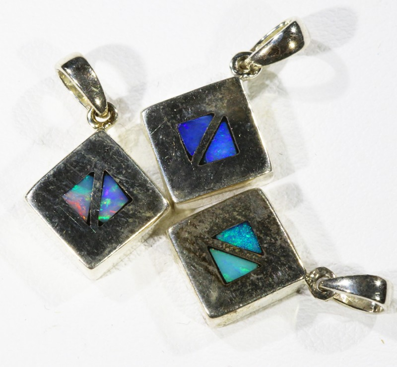Three Inlay Opal   into Sterling Silver pendant CF1817