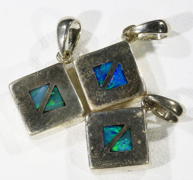 Three Inlay Opal   into Sterling Silver pendant CF1818