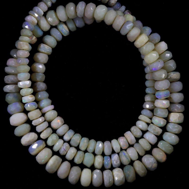 74.10 CTS FACETED OPAL BEAD STRAND -LIGHTNING RIDGE N5 [SO9870] SAFE SH