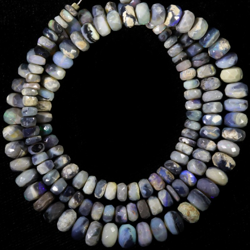 81.15 CTS FACETED OPAL BEAD STRAND -LIGHTNING RIDGE N4 [SO9874] SAFE SH