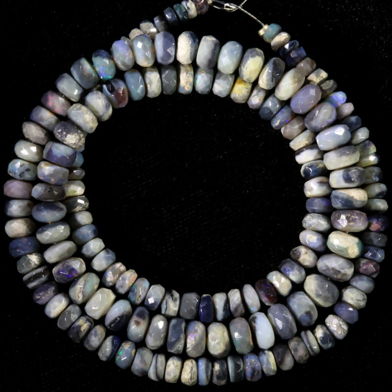 75.10 CTS FACETED OPAL BEAD STRAND -LIGHTNING RIDGE N4 [SO9875] SAFE SH
