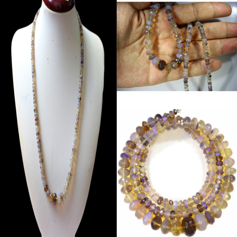 98.85 CTS FACETED CRYSTAL OPAL BEAD STRAND -LIGHTNING RIDGE N6 [SO9891] SAF