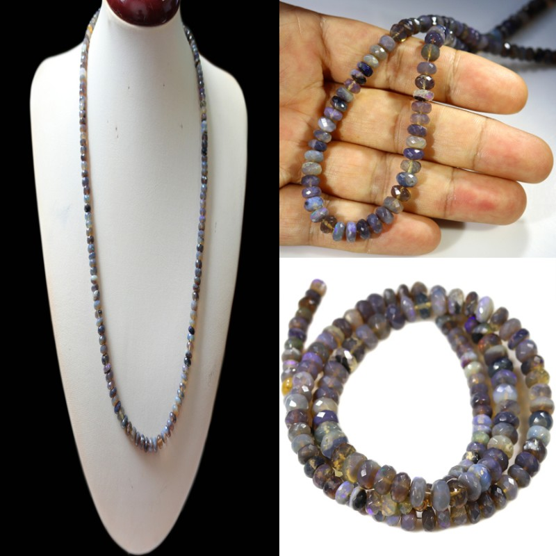 78.85 CTS FACETED CRYSTAL OPAL BEAD STRAND -LIGHTNING RIDGE N3 [SO9888]