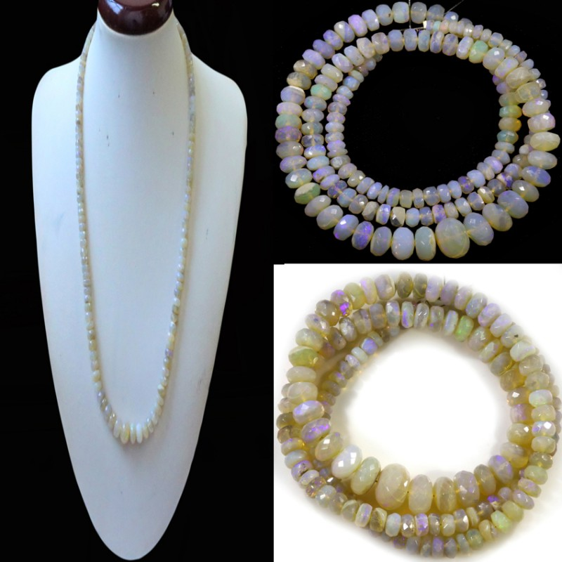 88.05 CTS FACETED  CRYSTAL OPAL BEAD STRAND -LIGHTNING RIDGE N7 [SO9912] SA