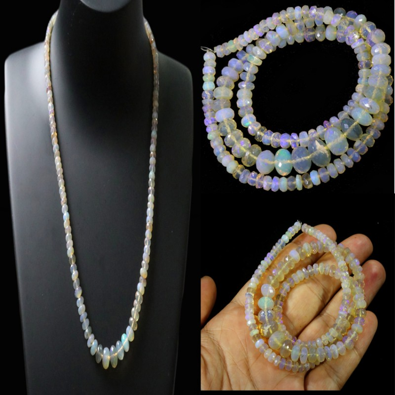 88.70 CTS FACETED  CRYSTAL OPAL BEAD STRAND -LIGHTNING RIDGE N6 [SO9908] SA