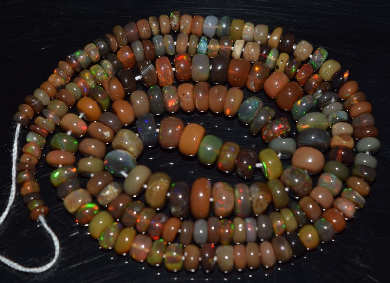 43.55 Ct Natural Ethiopian Welo Opal Beads Play Of Color