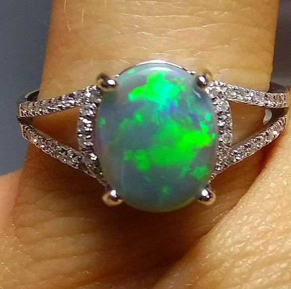 Opal Ring 14K Solid semiblack Opal size 8