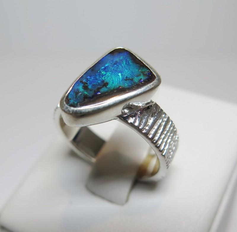 Australian Opal Freeform Hand Made 925 Silver Ring