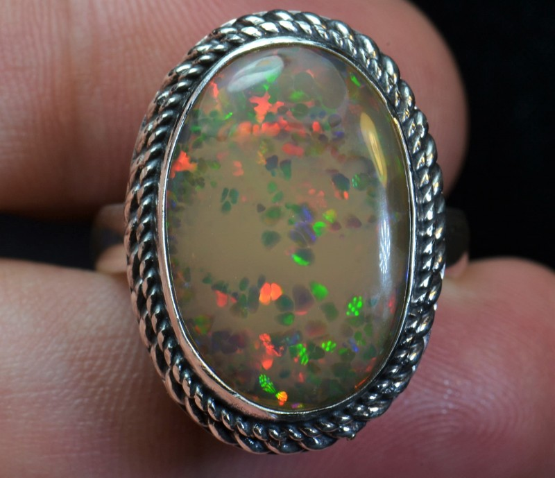 12.5sz Quality Ethiopian Opal .925 Silver Taxco Handmade Quality Ring
