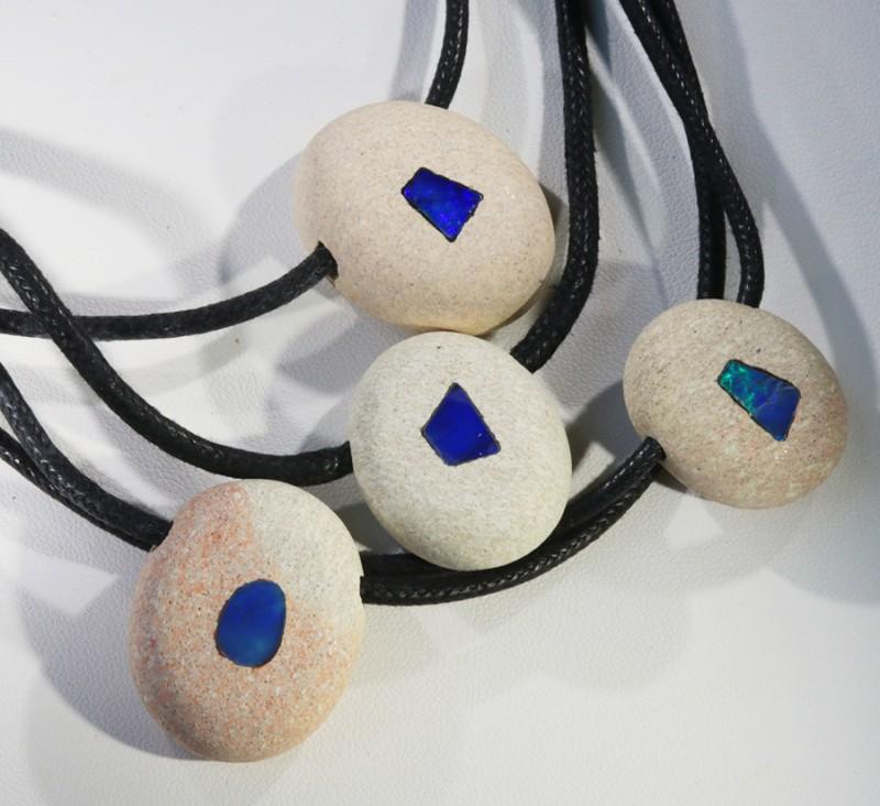 Four Opal Inlay Into Sandstone Parcel QOM 1726