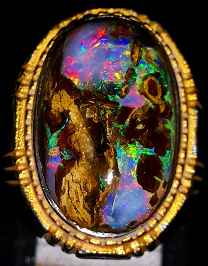 68.65 CT UNTREATED Very RARE  Indonesian Wood Fossil Opal With Unique Ring