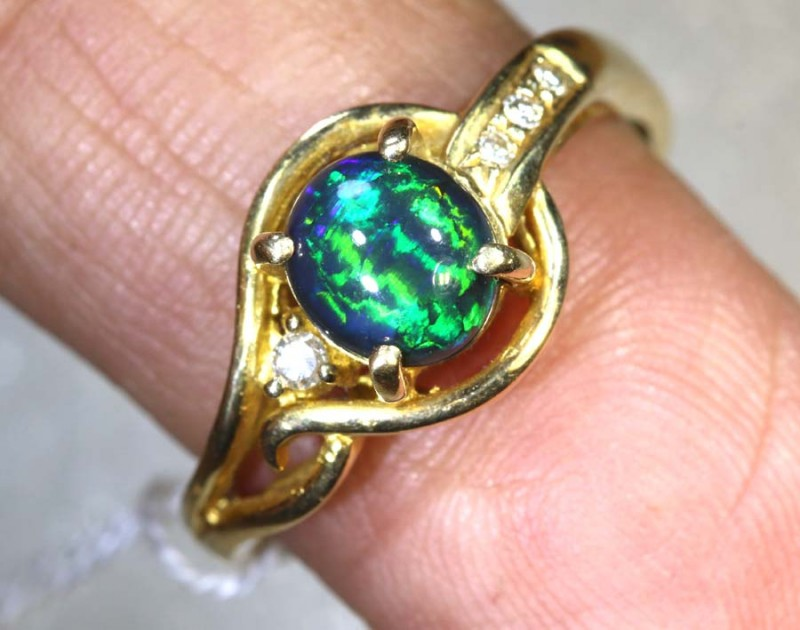 N1- 17 CTS CATSEYE SOLID BLACK OPAL 14K SOLID GOLD/ DIA RING INV-JJ