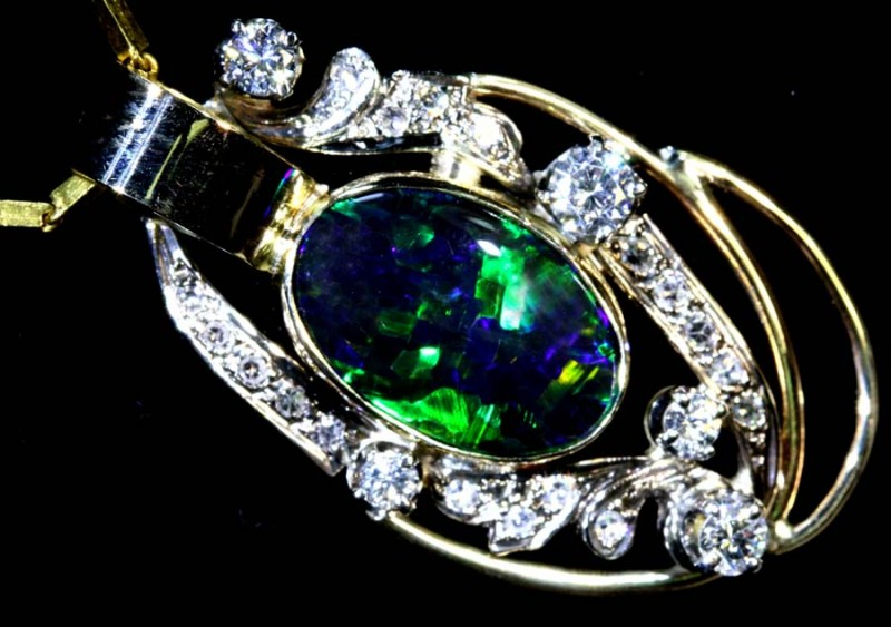 58.50 CTS SOLID BLACK OPAL GOLD AND DIAMOND RING INV-JJ