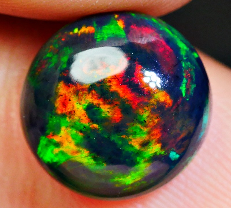 3.00 CRT GORGEOUS SMOKED ROUND BROADFLASH HELL FIRE PATTERN WELO OPAL