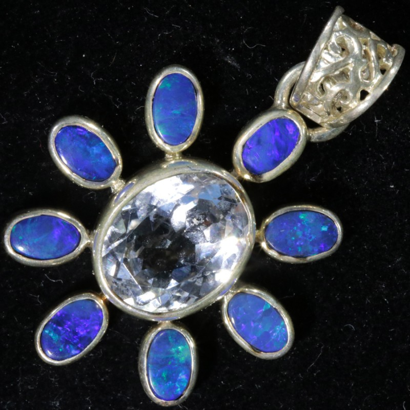 27.00 CTS TOPAZ WITH DOUBLET SILVER PENDANT[SOJ6173]
