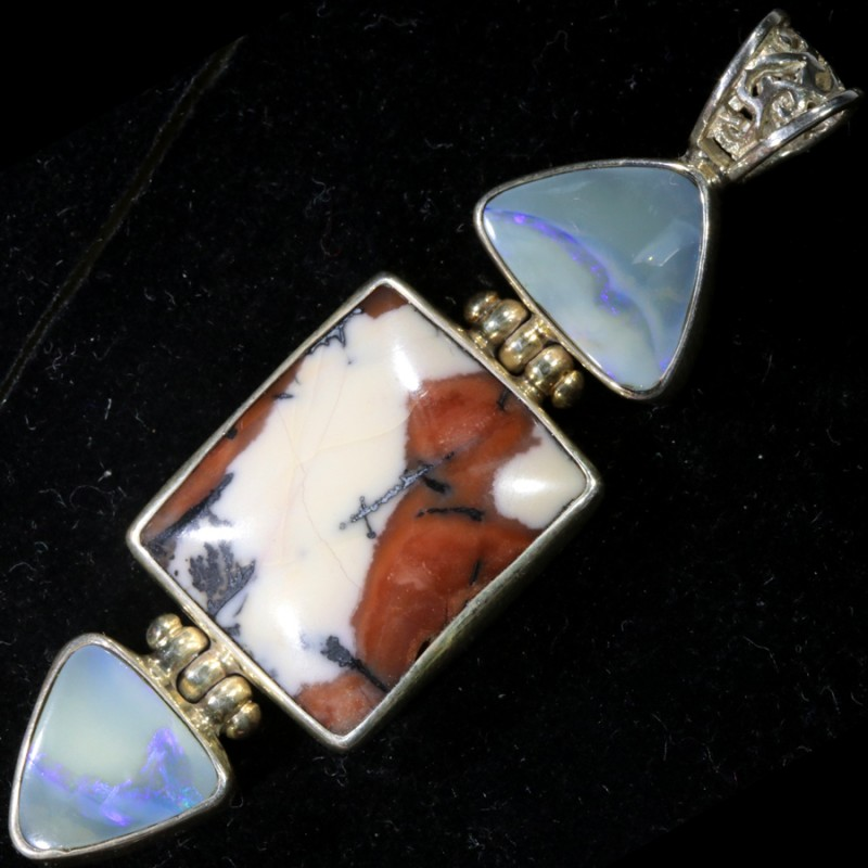 47.50 CTS TIFFANY OPAL WITH SOLID OPAL SILVER PENDANT-[SOJ6182]