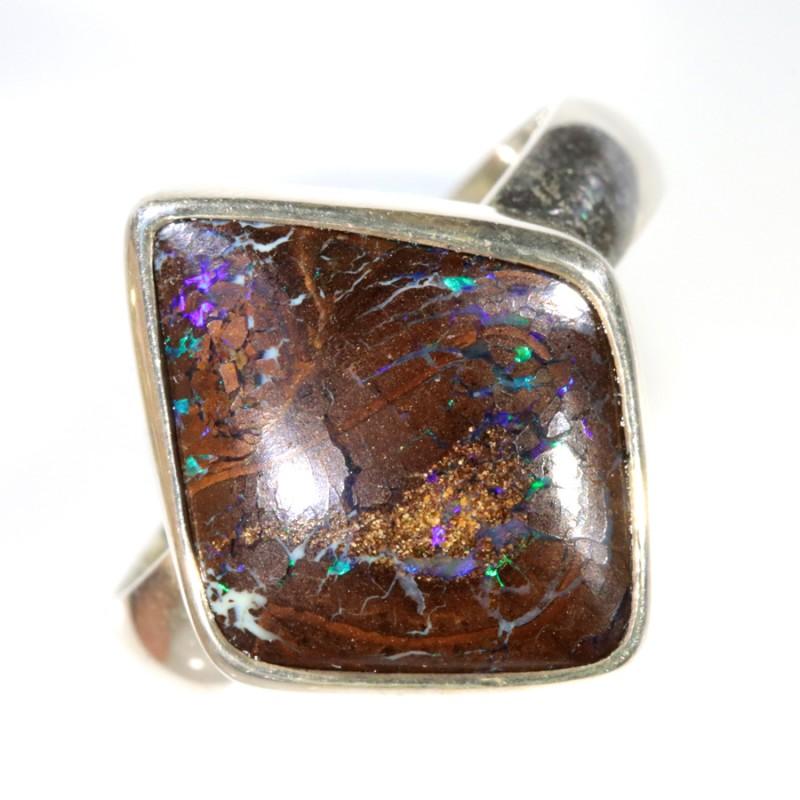 29.70 SIZE BOULDER OPAL RING -NATURAL-SILVER [SOJ6227]