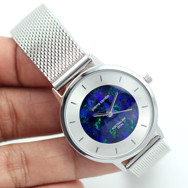 Classic Ladies Silver Watch Mosaic Opal