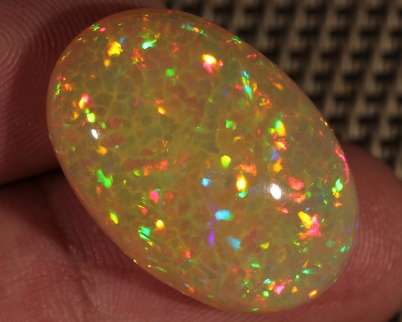 22.54CT~BRILLIANT 5/5 YELLOW BASE WELO OPAL CAB~CHAFF/RAINBOW PRISM
