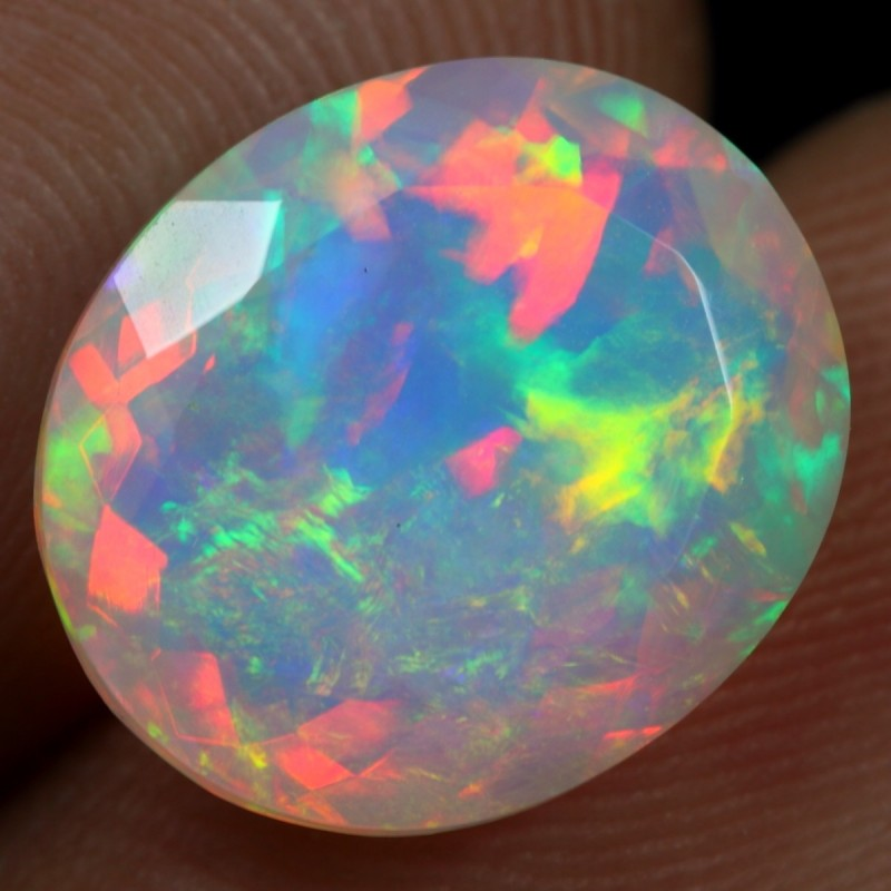 FACETED 4.00cts FLASH RAINBOW FIRE Natural Ethiopian Welo Opal