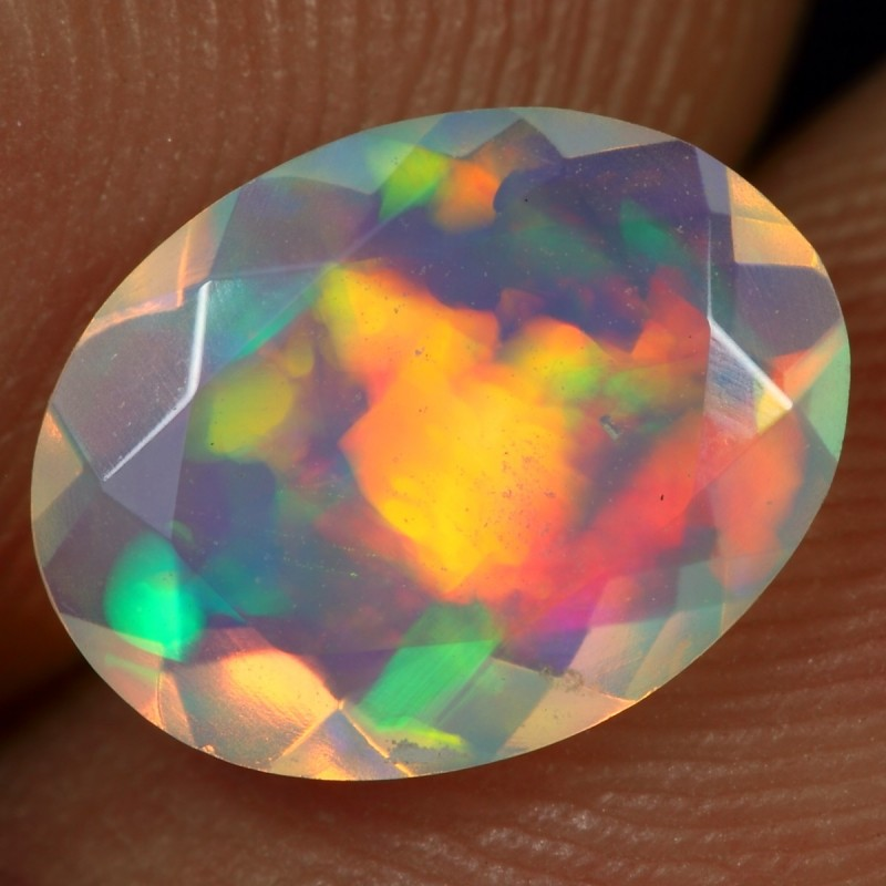 FACETED 1.20cts CRYSTAL RAINBOW FIRE Natural Ethiopian Welo Opal
