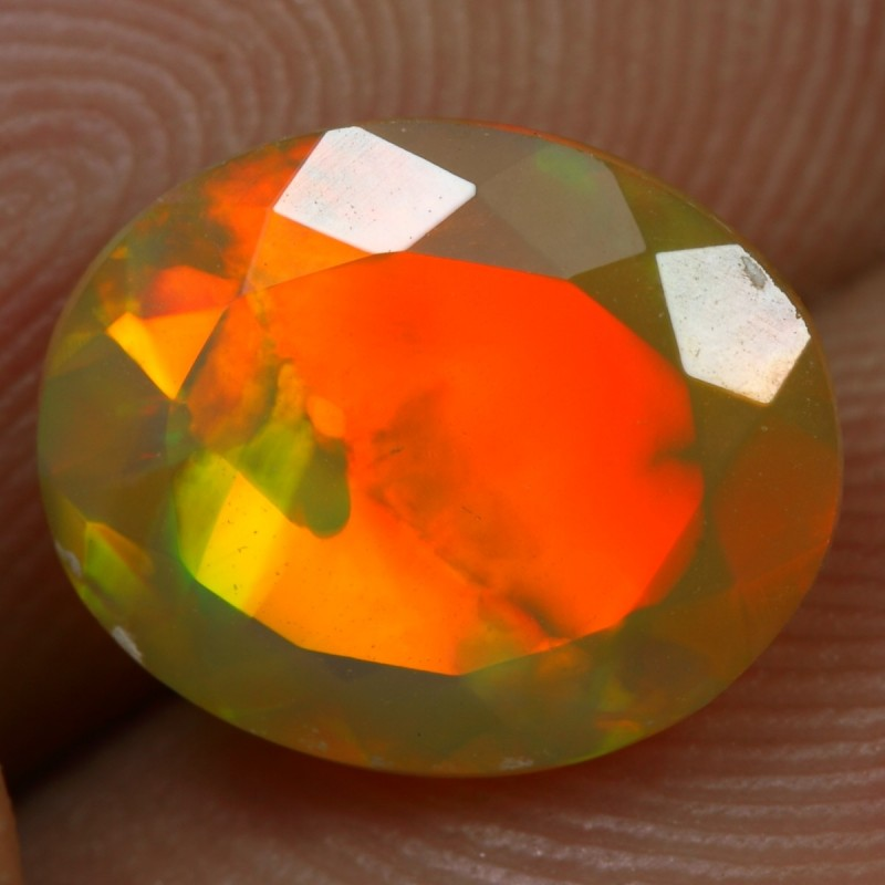 FACETED 2.15cts STRONG RED FIRE Natural Ethiopian Welo Opal