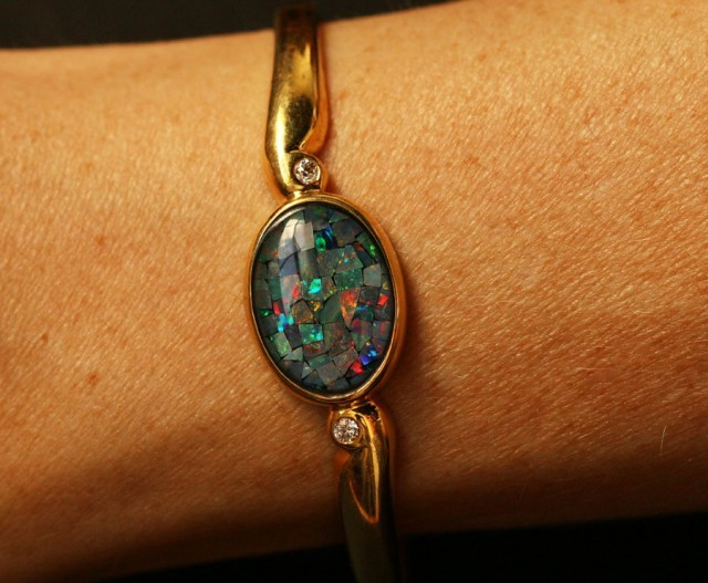 Beautiful MosaicTYriplet  Opal Bangle CF 1362